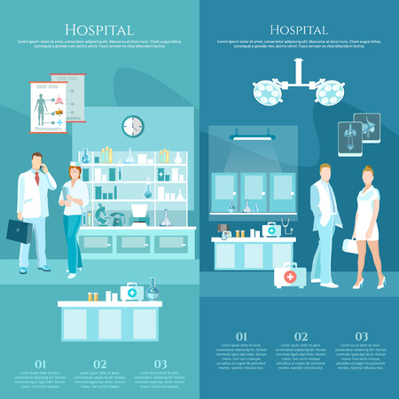 hospital corridor: Medicine banners doctors and hospital interiors health service surgery operation room vector illustration