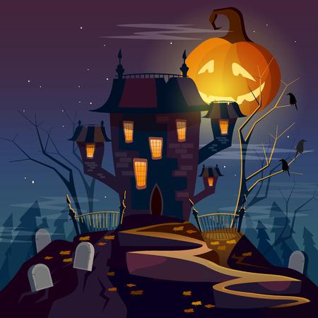 ghost house: Halloween party ghost house mystical background halloween cartoon vector