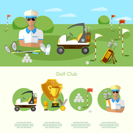 playing golf: Golf infographic elements banners elite golf club man playing golf game of golf vector illustration