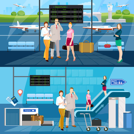 airlines: Airport interior banner international airlines people in waiting room airport vector illustration