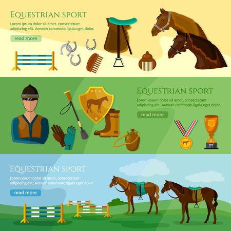 equestrian sport: Equestrian sport banner professional jockey club horse racing vector illustration Illustration