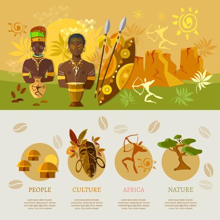 아프리카 인포 그래픽 요소 배너 아프리카의 문화와 전통 벡터 일러스트 레이 션
