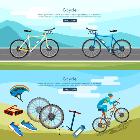 active lifestyle: Bicycle riding banner active lifestyle professional cycling banners vector Illustration