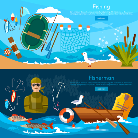 Professional fishing banners fishing concept. Fishing on the boat, flat style