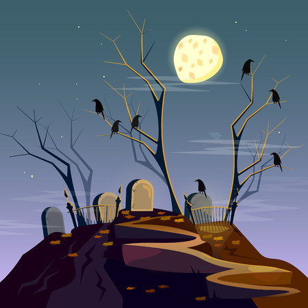 spooky forest: Halloween background graveyard at night cartoon spooky forest with dead trees vector