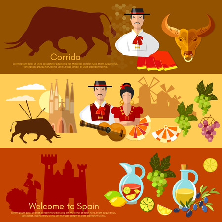 bullfight: Spain banner traditions and culture spanish attractions people vector illustration Illustration