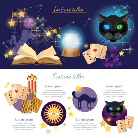 parapsychology: Astrology and alchemy infographics fortune telling vector magic open book illustration