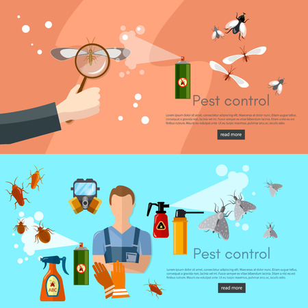 detecting: Pest control services banner detecting exterminating insects vector illustration