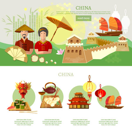 traditions: China infographics culture and traditions china vector illustration
