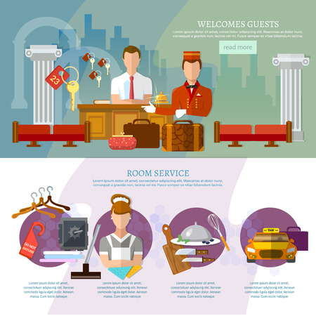 hotel staff: Hotel service infographics hotel staff reservation motel vector illustration