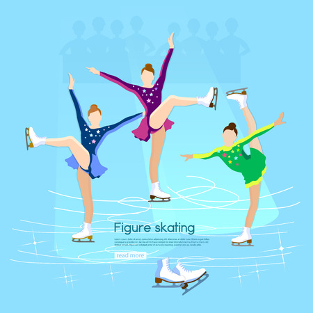 figure skating: Figure skating ice dancing winter sport cute girl training on the ice vector illustration
