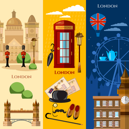 London banner United Kingdom buildings royal guards attraction vector illustration