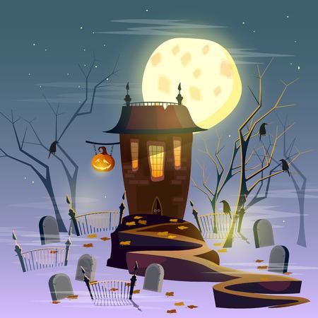 ghost house: Halloween ghost house mystical background halloween cartoon vector