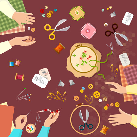 seamstress: Tailor seamstress fashion designer needlework lessons team hands vector illustration