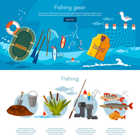 Professional fishing banners fishing rod, hooks, bait, fish, worms, vector flat illustration