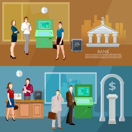 finance department: Interior bank business people bank banner vector illustration Illustration