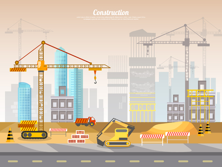 building site: Construction site industrial background building a house vector illustration Illustration