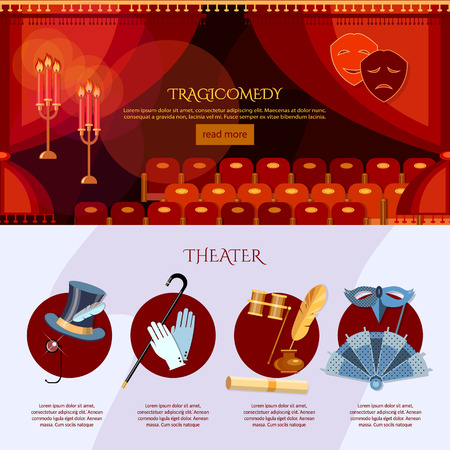 operetta: Theater infographics comedy and tragedy masks theater stage curtain illustration Illustration
