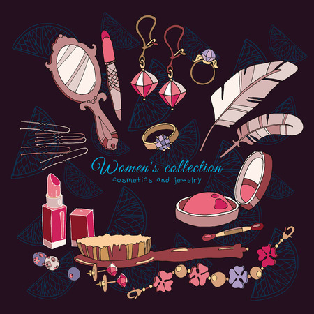 fashion accessories: Womens collection female fashion accessories cosmetics and jewelery hand drawn