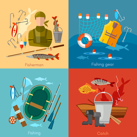 floater: Professional fishing icon set fishing rod, hooks, boat, fish, worms, flat illustration
