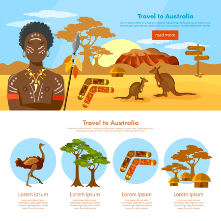 sidney: Australia travel infographics template Australia people and animals Australian aborigines kangaroo ostrich illustration