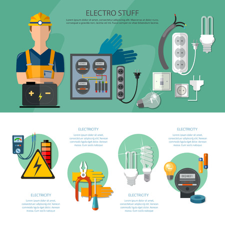 plug hat: Professional electrician infographics electricity tools installation and repair electrical equipment illustration
