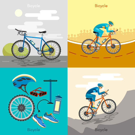 active lifestyle: Cycling active lifestyle sport icon set bicycle riders illustration