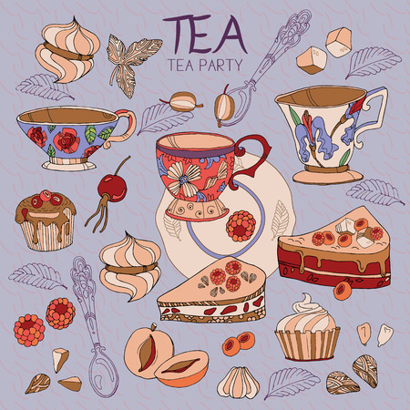 tea ceremony: Tea ceremony cute collection cups, bakery, sweets, tea party hand drawn Illustration