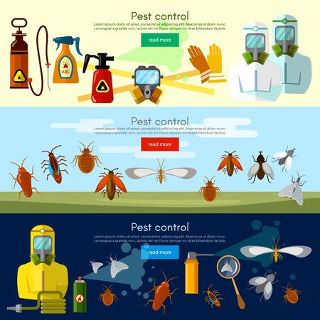 곤충 일러스트를 제거하는 해충 방제 서비스 배너 일러스트