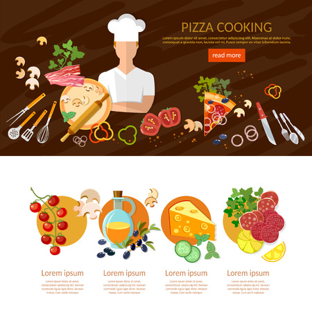 Making pizza banner infographics cook pizzeria pizza ingredients Illustration