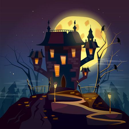 ghost house: Halloween party ghost house halloween cartoon