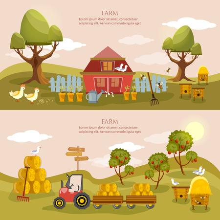 old barn: Farm agriculture banner rural landscape farmer products old barn and field cartoon illustration Illustration