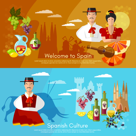 Spain banners traditions and culture spanish attractions people of Spain illustration