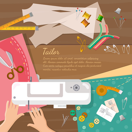 seamstress: Seamstress work on sewing machine top view professional tailoring illustration