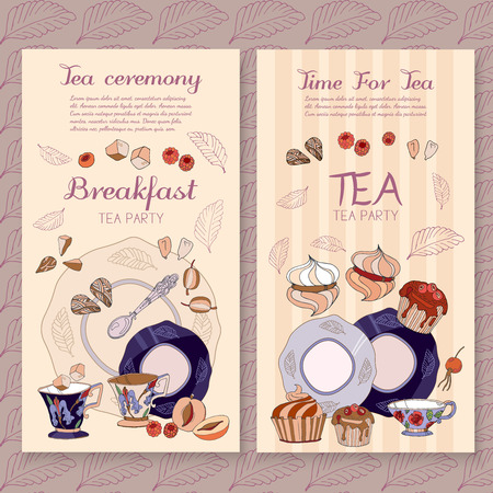 Tea menu design package time for tea and teapot, sweet pastries cafe menu template vector Vector Illustration