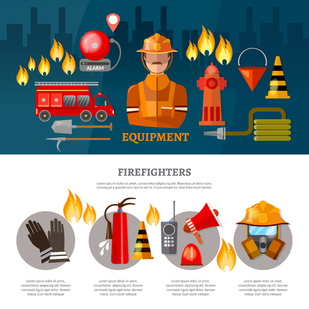 fireman: Professional firefighters banners equipment fireman vector illustration Illustration