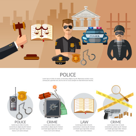 theft proof: Justice system infographics crime and punishment criminal trial judge in court vector illustration