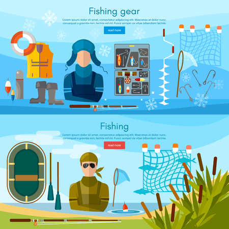 Summer and winter fishing banner, professional fishing, and outdoor recreation, fishing tools vector illustration Illustration