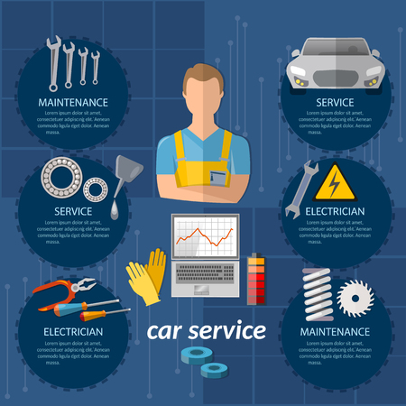 Autoservice-Infografiken Mechaniker Auto-Service-Center Autodiagnose professionelle Auto-Reparatur-Vektor-Illustration Tuning