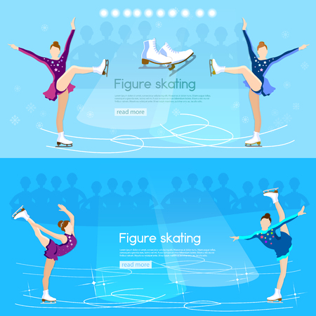 figure skating: Figure skating banner ice dancing winter sport cute girl training on the ice vector illustration