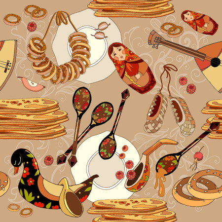 russian pattern: Seamless pattern with russian cuisine. Russian food. Hand drawn Russia national traditional background