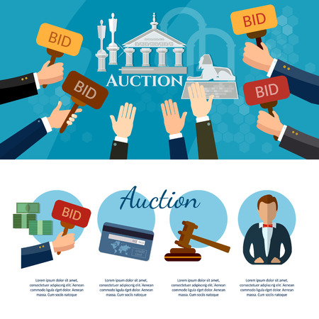 antiques: Auction and bidding banners selling antiques art object culture auction bidding concept vector illustration