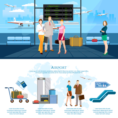 airlines: Airport infographics international airlines people in waiting room airport terminal baggage inspection scanner vector illustration