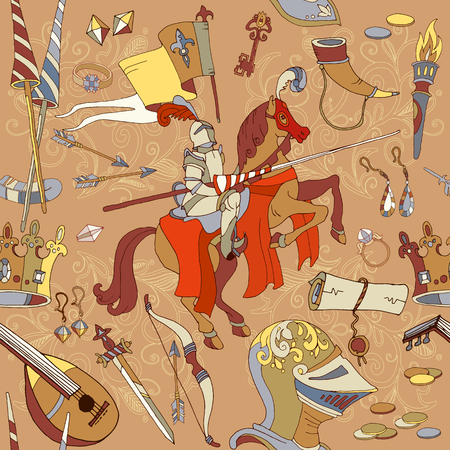 Medieval seamless pattern, knight on horse, legendary armored knight warrior, ancient weapons hand drawn vector illustration