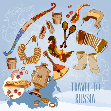 Welcome to Russia. Traditional Russian cuisine and culture. Travel concept. Traveling design. Russia map vector Illustration