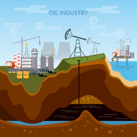 mining ship: Oil industry infographics production process of drilling wells extraction production and transportation oil and petrol vector
