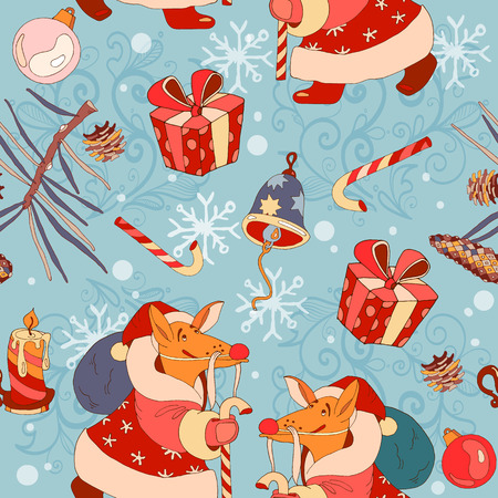 santa suit: Christmas pattern, fox in a suit of Santa Claus, vector Illustration