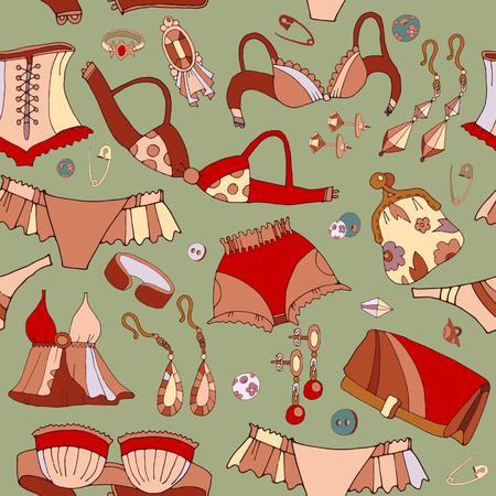 fashion accessories: Woman underwear seamless pattern. Fashion accessories, cosmetics, jewelry, woman shopping background vector