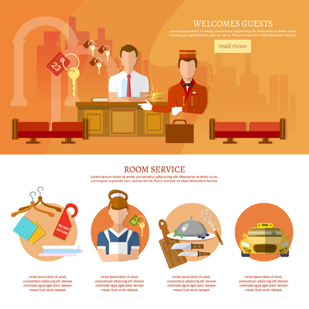 hotel staff: Hotel service banners hotel staff web page design with flat elements vector illustration