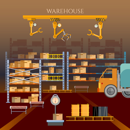 warehouse building: Warehouse building and shipping process vector illustration